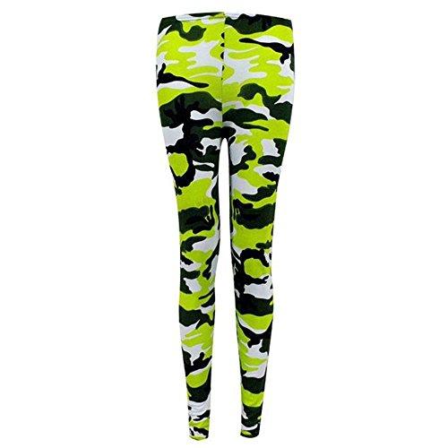 Donne jeggings 8 Janisramone leggings sexy Neon pantaloni di formato Camuffare signore Verde di elastico 22 stampati dwwTCa