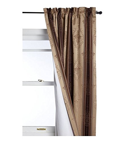 Tuscan Stripe Scroll Stripe Jacquard Blackout Rod Pocket Single Panel, Mocha (Tuscan Palette)