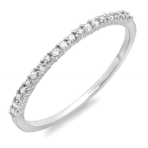 0.15 Carat (ctw) 14k White Gold Round Diamond Ladies Anniversary Wedding Band Stackable Ring (Size 7)