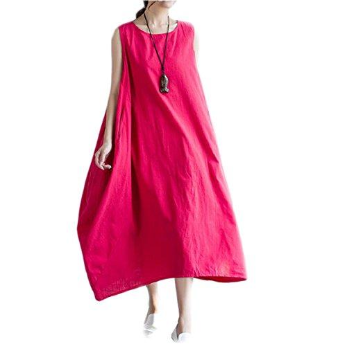 Vestido De La Manera De Gran Tamaño Sueltos HGDRSpring Y Verano De Las Mujeres Red