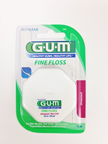 GUM Fine Floss Unwaxed 55 M/60yd (6 pack)