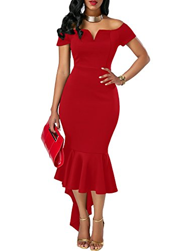 off shoulder red evening dress - 5
