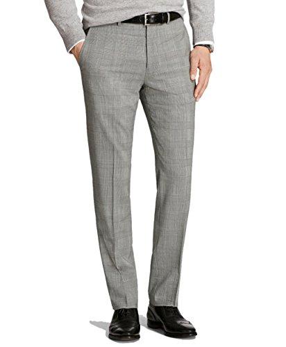 Brooks Brothers Men's Regent Fit Wool Advantage Chino Pants Grey Glen Plaid 42W x 34L