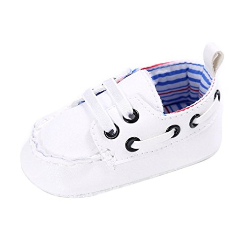 Voberry Newborn Baby Boy Girl Leather Crib Shoes Toddler Soft Sole Sneakers (0~6 Month, White)](Baby Shoes Newborn Boy)