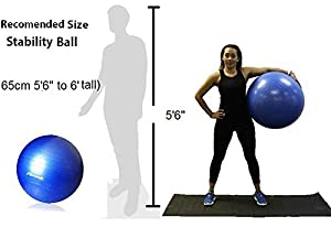 Exercise Ball for Yoga, Fitness, Core Strength, Stability Training, Pilates, Hand Pump Included 65cm by PERFECT SACRIFICE