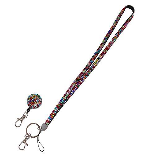 Purely Handmade Fashion Retractable Rainbow Bling Crystal Lanyard Cute Rhinestone Badge Holder With Necklace + Badge Reel ()
