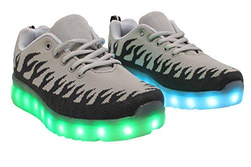 G & S Gs Ledde Lyser Skor Usb-laddning Mens Mode Blinkande Sneakers Grå