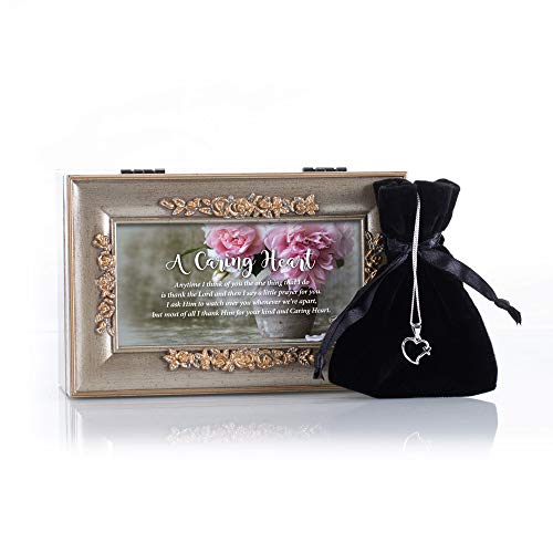 Dicksons A Caring Heart Champagne Petite Rose Jewelry Music Box Plays What a Wonderful World paired with 18 Inch Open Heart Cross Pendant Silver Plated Necklace