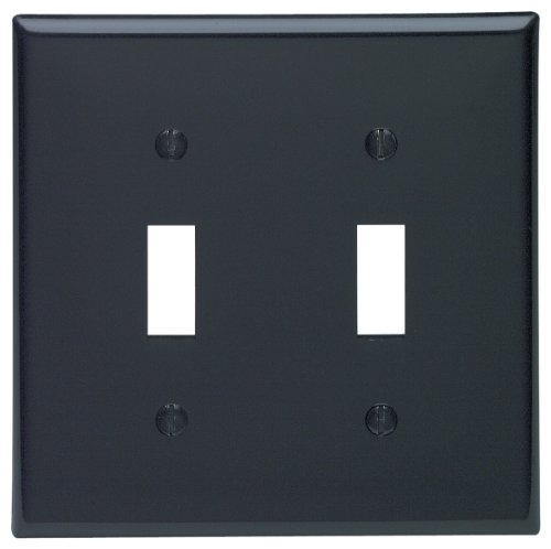 Leviton 80709-E 2-Toggle Standard Size Wall Plate, 2 Gang, 4.5 In L X 4.56 In W 0.22 In T, Smooth, 1-Pack, Black