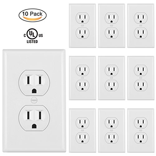 White 15 Amp ([10 Pack] BESTTEN Duplex Receptacle Wall Outlet, 15Amp/125V, Wall Plate Included, UL Certified, White)