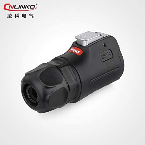 CNLINKO LP24 Aviation Connector M24 Male Plug with Female Socket Waterproof Metal Thread Panel Connector 10 Pins for AC DC Signal LED Lighting Equipment