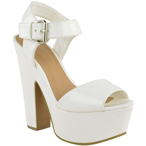 WOMENS LADIES DEMI WEDGE PEEP TOE PLATFORM HIGH HEEL PARTY SHOES ANKLE STRAP SIZE White Faux Leather