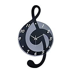 G-Clef Music Note Outline Black With Gray 12 x 21 Resin Stone Hanging Wall Clock