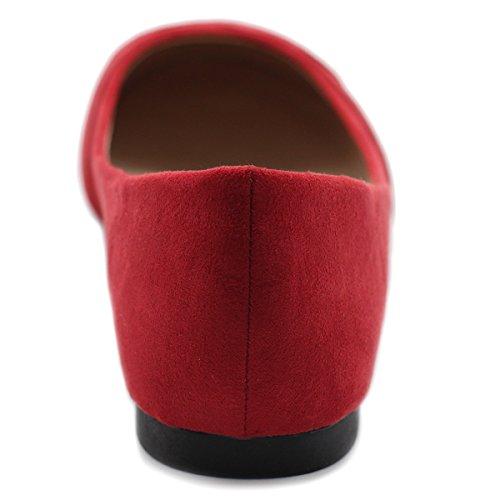 Ollio Damen Ballettschuh Cute Casual Comfort Flat rot