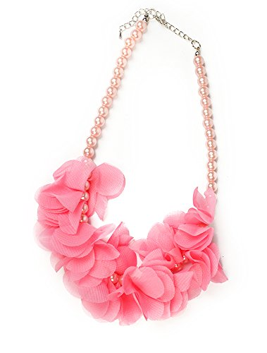 [FRILLS Pink Petal Faux Pearl Necklace] (1920s Dresses Cheap)