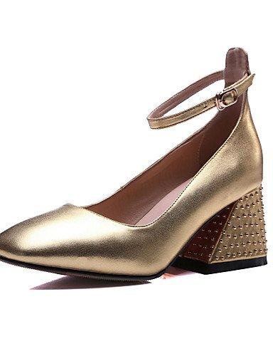 GGX/ Damen-High Heels-Kleid / Lässig / Party & Festivität-Leder-Blockabsatz-Absätze / Quadratische Zehe-Schwarz / Gold black-us5.5 / eu36 / uk3.5 / cn35