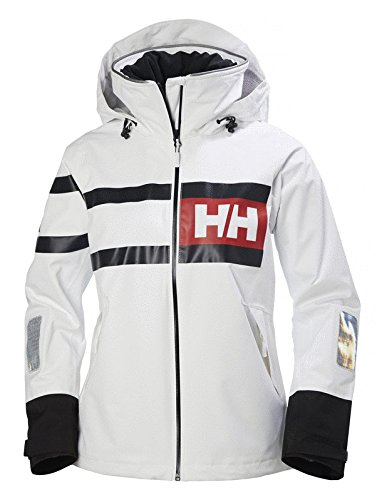 e3f07b55c25 Helly Hansen Women's Salt Waterproof Windproof Breathable Performance  Sailing Rain Jacket with Hood, 003 White