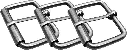 LUNA Unisex Simple Plain Premium Buckle - Brushed Silver - 3 Buckles (3 Buckle)