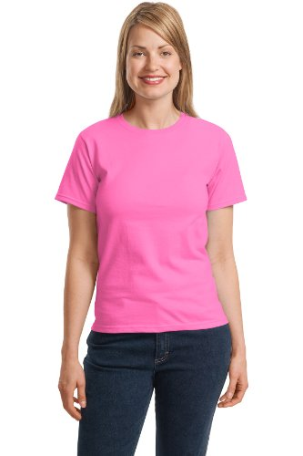 (Hanes Women's Relaxed Fit Jersey ComfortSof Crewneck T-Shirt_Pink_M)