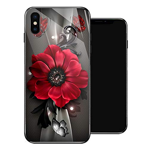 iPhone XS MAX Case,Red Flowers Butterflies iPhone XS Cases for Girls,Tempered Glass Pattern Design Back Cover[Shock Absorption]Soft TPU Bumper Frame Support Case for iPhone XS MAX Silk Scarf Sunflower