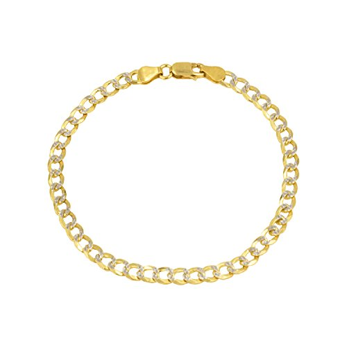 14K Solid Yellow Gold with White Pave Diamond Cuts 4.2MM Cuban Chain Bracelets-8 Inch by Pori Jewelers
