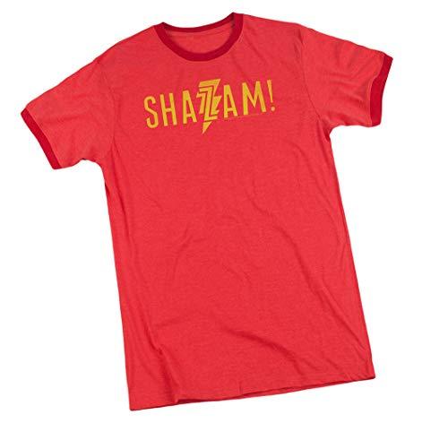 Shazam! Movie, Flat Logo, Adult Ringer T-Shirt, X-Large Red