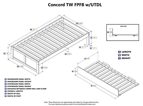Concord Panel Foot Trundle Bed,
