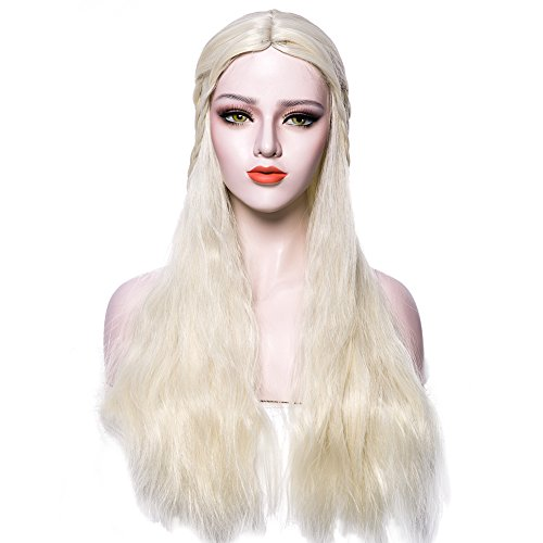 Mother Of Dragons Wig Daenerys Targaryen Khaleesi Long Curly Hair Light Blonde Lace Front Wigs Cosplay 28 Inch