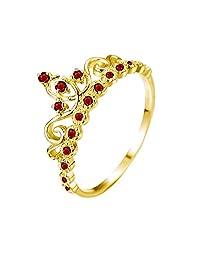 Dainty 14K Gold Princess Crown with Garnet Birthstone Ring (January Birthstone)