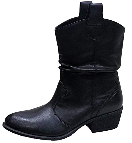 - BAMBOO Sadie-66s Women Western Cowboy Cowgirl Pull On Ankle High Boots Black 8