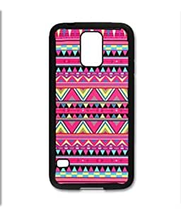 Samsung Galaxy S5 SV Black Rubber Silicone Case - Aztec Pattern Print Pink Red Colorful Cute