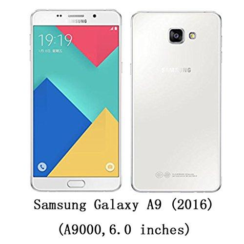 Trumpshop Smartphone Carcasa Funda Protección para Samsung Galaxy A9 (2016,A9000) + Amarillo + Delgada Cuero Genuino Caja Protector con Ranuras para Tarjetas [No es compatible con A9 Pro (2016,A9100)] Blanco