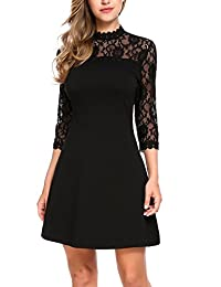 Zeagoo Women 3/4 Sleeve Lace Patchwork Cocktail Party Slim A-Line Dress