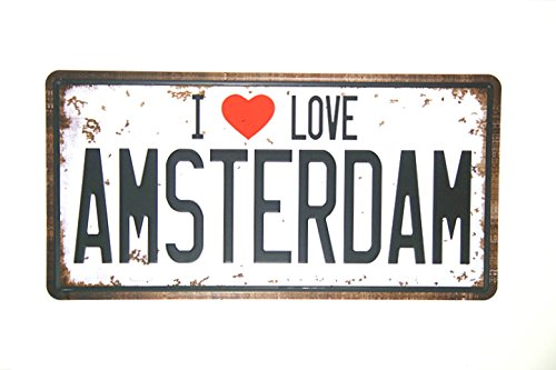 "DL- ""I LOVE AMSTERDAM Vintage License plate shabby chic wall stickers for kids rooms"