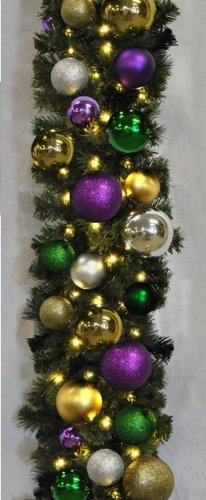 Queens of Christmas WL-GARBM-09-MARDI-LWW Pre-Lit LED Blended Pine Christmas Garland Decorated with The Mardi Gras Ornament Collection, 9', Warm White by Queens of Christmas