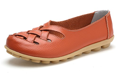 VenusCelia Women's Comfort Walking Casual Flat Loafer Orange/Tangerine