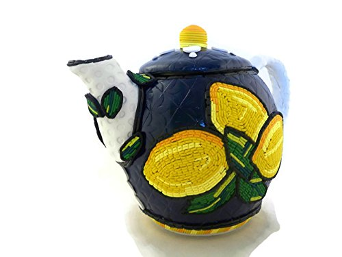 Lemon teapot artisan made polymer clay art for home