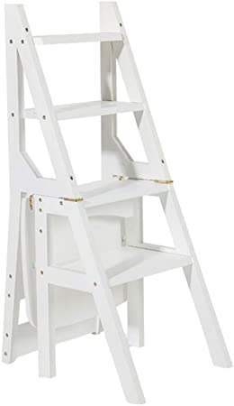 Silla de Escalera de Madera Blanca Plegable multifunción ...