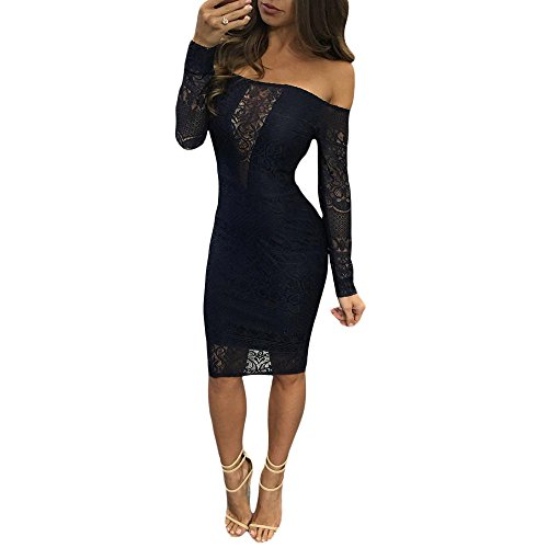SEBOWEL Lace Long Sleeve Off Shoulder Bodycon Party Cocktail Prom Midi Dress Small