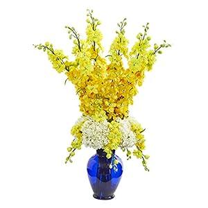 Artificial Flowers -Delphinium and Hydrangea Yellow Arrangement in Blue Vase 44