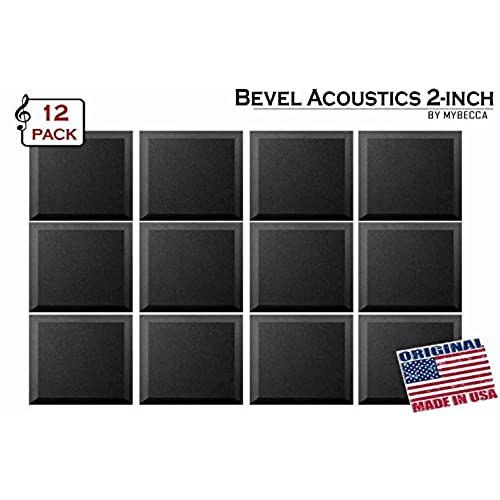 Mybecca [12 PACK] Acoustic Foam BEVEL Tiles Soundproofing Wall Panel 12 X  12 X 2 Inch, Made In USA