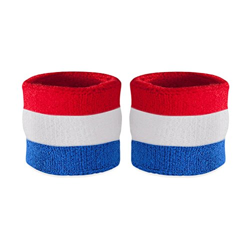 Suddora Kids Wrist Sweatbands - Athletic Cotton Terry Cloth Sports Wristbands for Kids (Pair) (Red White Blue)