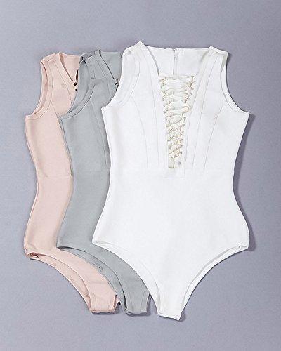 v Donne Bikini Anello Pezzo Delle Bianco Benda Whoinshop Sexy Profonda Un Metallico 4fvfW8In