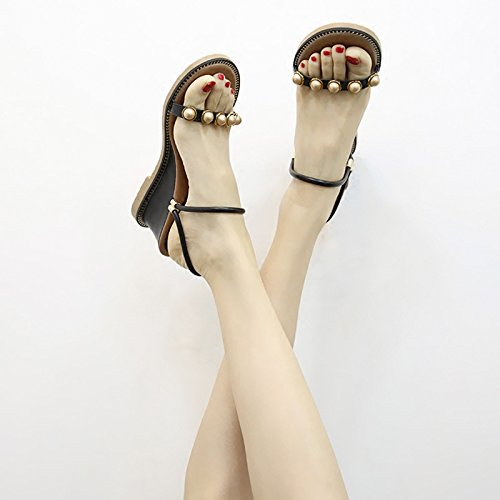 Two Slippers Wear JUWOJIA Female New nero Vacation Xia Sandals Gaogen Sandals Slope Bohemia Pearl nZZ8wq0Y