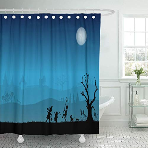 Emvency Fabric Shower Curtain Curtains with Hooks Banana Silhouettes of Thai Children Trick Treating in Halloween Night Tree Bat Boy Candy Canine Carnival 72