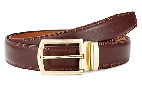 Men's Belt Leather Dress Casual Jeans Belt with Pin Buckle Vivid Colors-Trim to fit-35cm wide-BROWN-32-34 ()