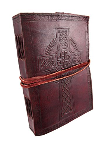 JSK25 Fair Trade Handmade Indra Celtic Cross Leather Journal Notebook Diary