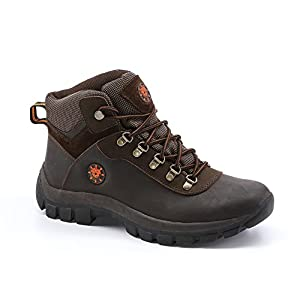 KINGSHOW Men's Water Resistance Rubber Sole Work Boots (8.5, 1551Brown)