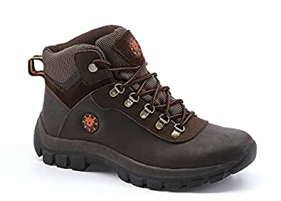 KINGSHOW Men's Water Resistance Rubber Sole Work Boots (7.5, 1551Brown)
