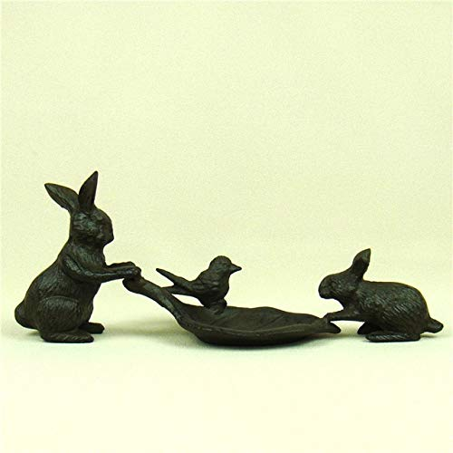 BeesClover Creative Cast Iron Rabbit Rings Dish Decorative Metal Left Necklace Rack Jewelry Organizer Ornament Gift and Craft Accessories Chocolate